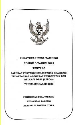 PERATURAN DESA TANJUNG  NOMOR 6 TAHUN 2021